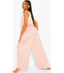petite wide leg pyjama set met broek en strik, blush