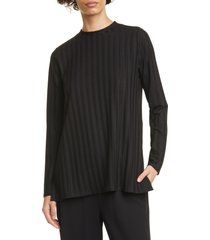 women's eileen fisher ribbed mock neck tunic, size xx-small - black