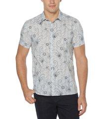men's sketch floral print short sleeve button-down shirt