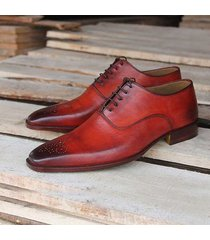 handmade men leather shoes, red brogue shoes for men, men formal dress shoes