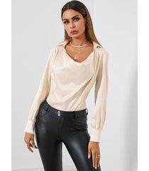 yoins blusa de manga larga con drapeado jacquard satinado