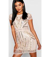 boutique loshangende jurk met pailletten en kapmouwen, blush