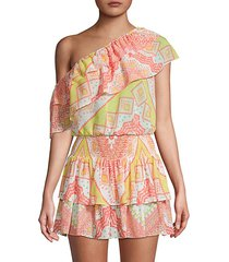 tribal-print one-shoulder cropped top