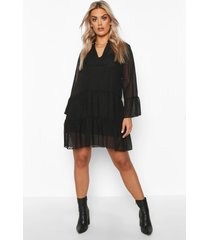 plus dobby mesh 2 in 1 gesmokte jurk, zwart