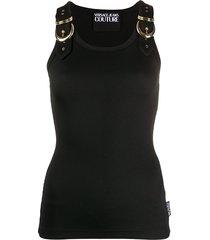 versace jeans couture buckle strap vest top - black