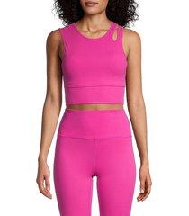 nine west women's cutout shoulder sports bra - pink - size m