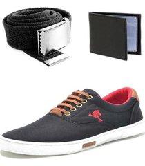 kit sapatênis polo joy e carteira slim e cinto gorgurão - masculino