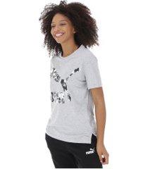 camiseta puma classics logo - feminina - cinza claro