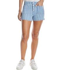 oat striped jean shorts