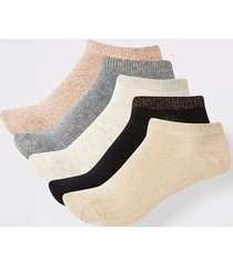 river island womens gold mixed colour trainers socks 5 pack