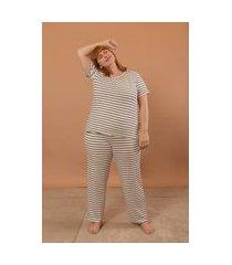 pijama longo com camiseta plus size branco