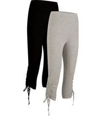 leggings a pinocchietto con arricciature (pacco da 2) (nero) - bpc bonprix collection