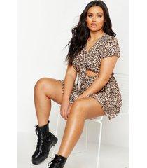 plus luipaardprint skater jurk met strik, brown