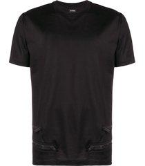 les hommes zipper detail t-shirt - black