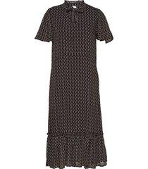 u6114, woven dress - maxi jurk knielengte zwart saint tropez