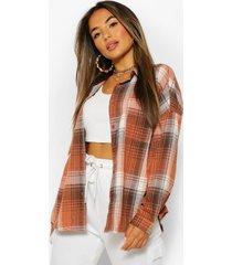 petite oversized pocket detail flannel shirt, brown