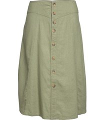 carpalm hw linen mix button skirt knälång kjol grön only carmakoma