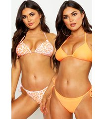 bright leopard 2 pack bikini, orange