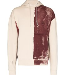a-cold-wall* paint-effect logo-print cotton hoodie - brown