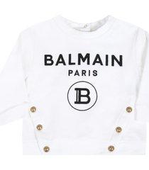 balmain white sweatshirt for babygirl with logo