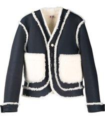thom browne reversible shearling drop-shoulder jacket - white