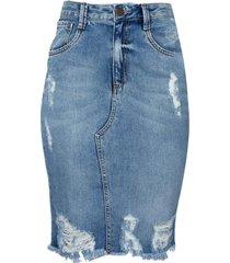 saia dudalina jeans vintage feminina (jeans claro, 46)