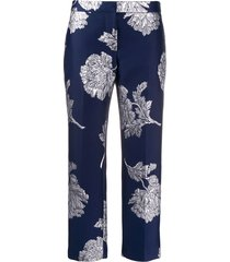 alexander mcqueen northern rose cigarette trousers - blue