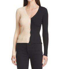 women's staud cargo colorblock sweater, size medium - ivory