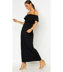 maxi-jurk met boothals en ruches, zwart