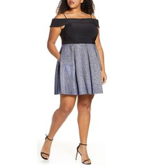 plus size women's morgan & co. shimmer pleated cold shoulder party dress