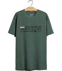 t-shirt osklen stone verde masculina - masculino