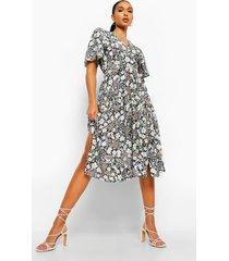 bloemenprint midi jurk met losvallende zoom, black