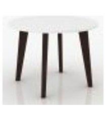 mesa de centro redonda com pés de madeira - branco