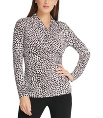 dkny cheetah-print surplice-neck top