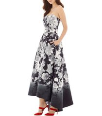 women's alfred sung floral print strapless sateen high/low dress, size 18 - black