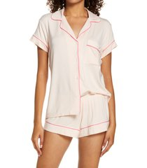 eberjey gisele shorty pajamas, size x-large in bellini/bright pink at nordstrom