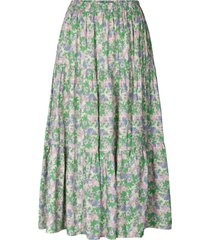 midi-rok met bloemenprint morning  groen