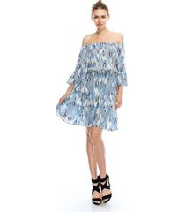 flirty off-shoulder boho blue feather print chiffon party dress, s, m or l