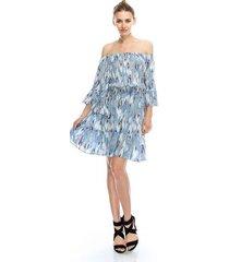 flirty off-shoulder boho blue feather print chiffon party dress, s, m or l