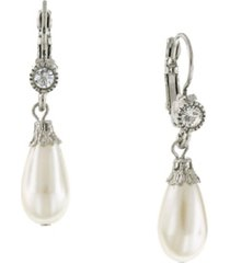 2028 silver-tone crystal and simulated pearl drop earrings