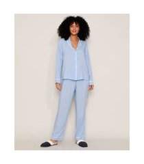 camisa de pijama feminina com vivo contrastante manga longa azul claro