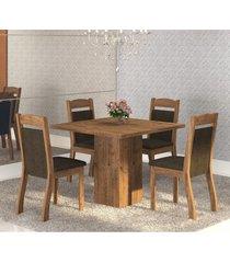 mesa de jantar 4 lugares cetim dover/chocolate - mobilarte