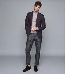 reiss connoisseur - wool textured slim fit blazer in bordeaux, mens, size 48