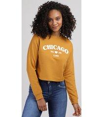 """blusão de moletom feminino """"chicago"""" mostarda"""
