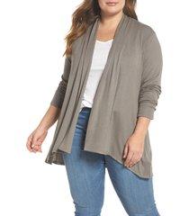 plus size women's bobeau high/low cardigan, size 3x - grey