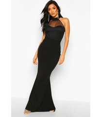 dobby mesh high neck maxi bridesmaid dress, black