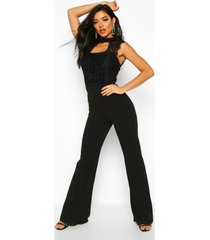 high neck lace 2 in 1 jumpsuit, black