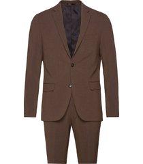 plain mens suit kostym brun lindbergh