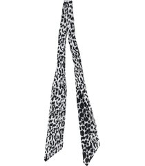 saint laurent silk leopard-print skinny scarf - black