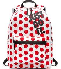morral nike heritage backpack - blanco/rojo
